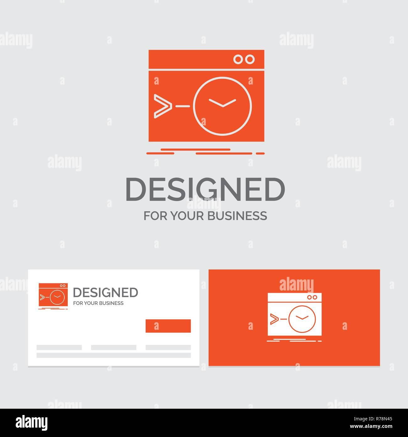 Modele De Logo Dentreprise Pour LAdmin Commande Racine Logiciels Terminal Cartes Visite Orange Avec Marque