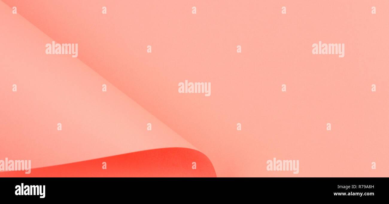 Forme géométrique abstraite papier fond couleur corail vivant Photo Stock