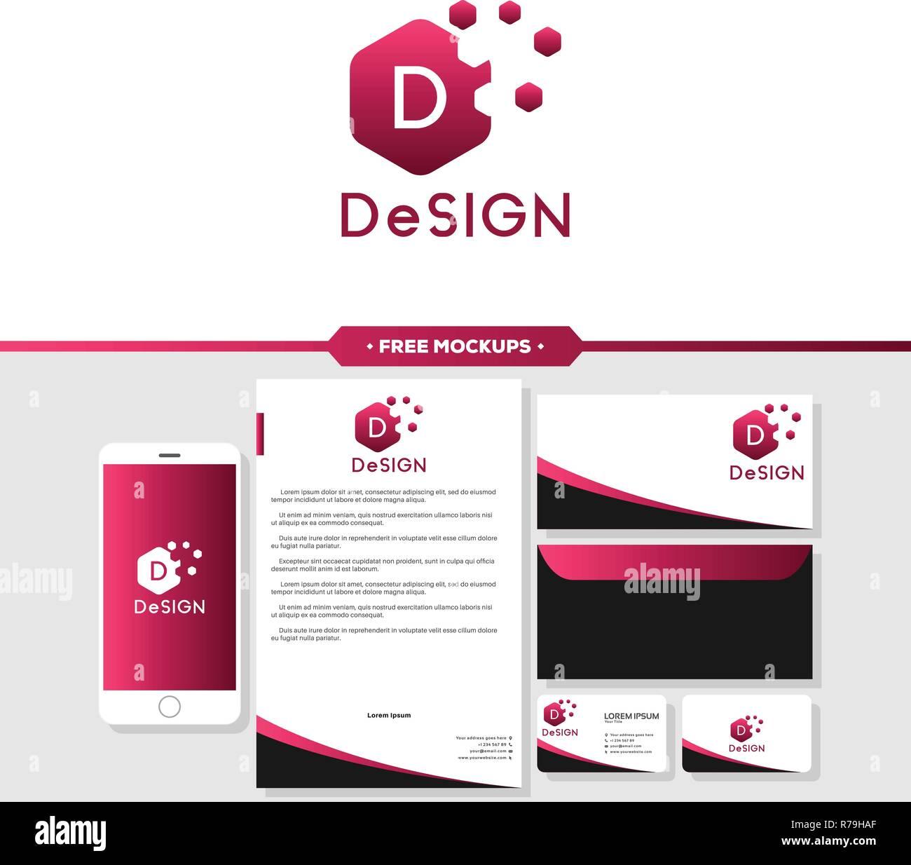 Utilisation Du Logo Et De La Marque Conception Abstraite Avec Carte Visite Papier A En Tete Enveloppe Maquettes