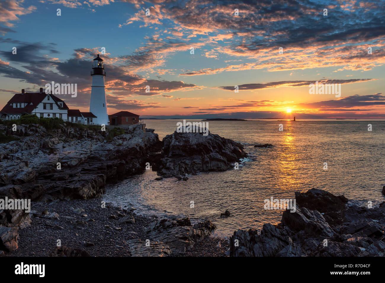 Phare de Portland au lever du soleil Banque D'Images