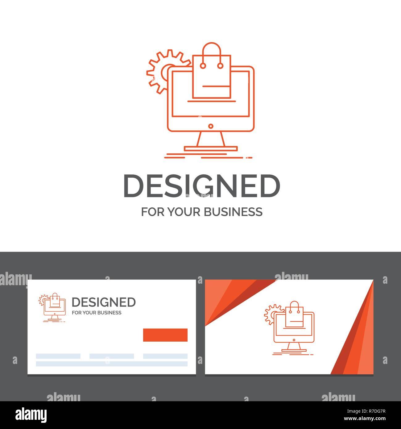 Modele De Logo Dentreprise Pour Faire Du Shopping En Ligne E Commerce Services Panier Cartes Visite Orange Avec Marque Template