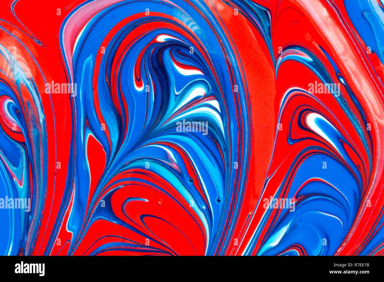 Résumé Fond Coloré De Rouge Blanc Et Bleu De La Peinture Liquide