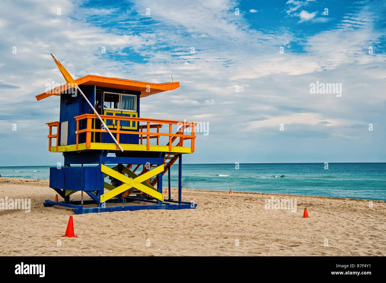 South Beach Miami Floride Lifeguard Chambre Dans Un Decor De