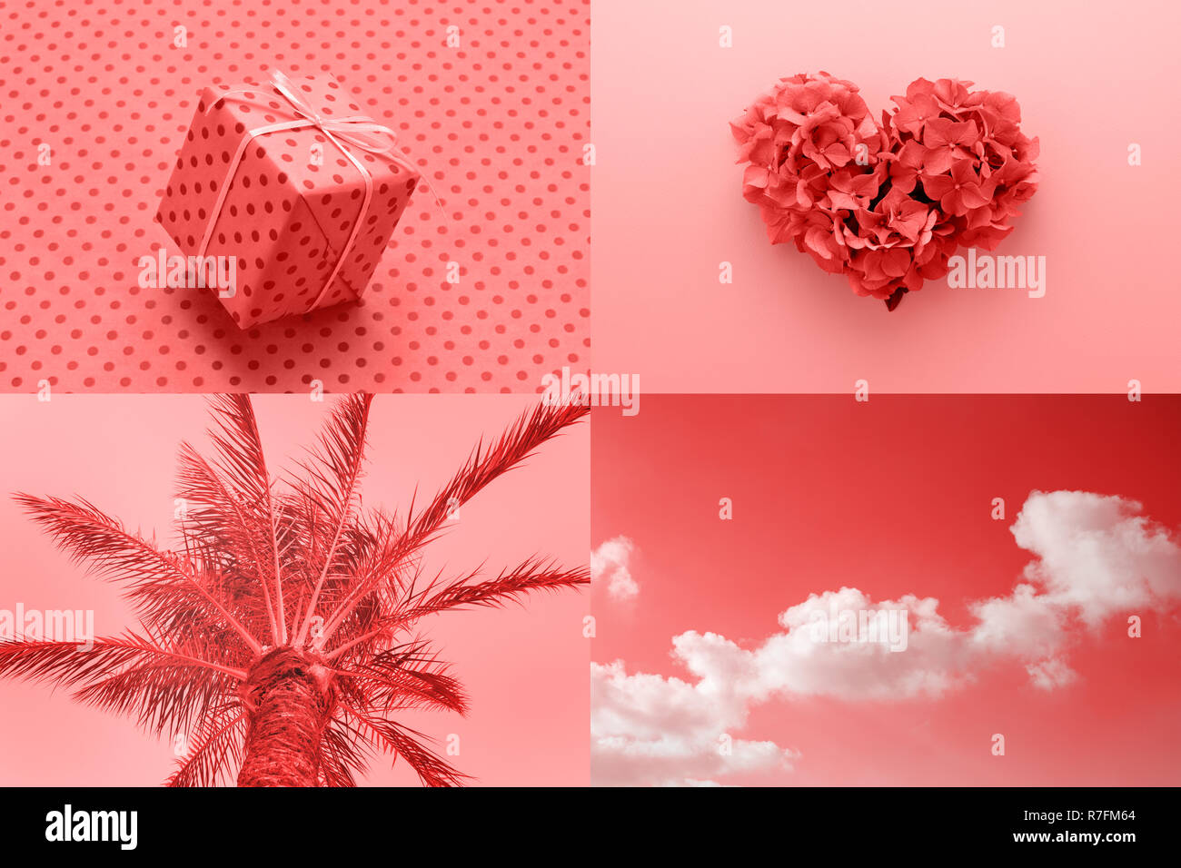 Collage créatif romantique inspiré par couleur corail vivant de l'année 2019. La Saint-Valentin, la mode minimal. Photo Stock