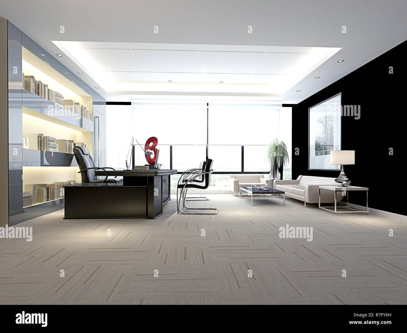 3D render bureau de travail moderne Banque D\'Images, Photo ...