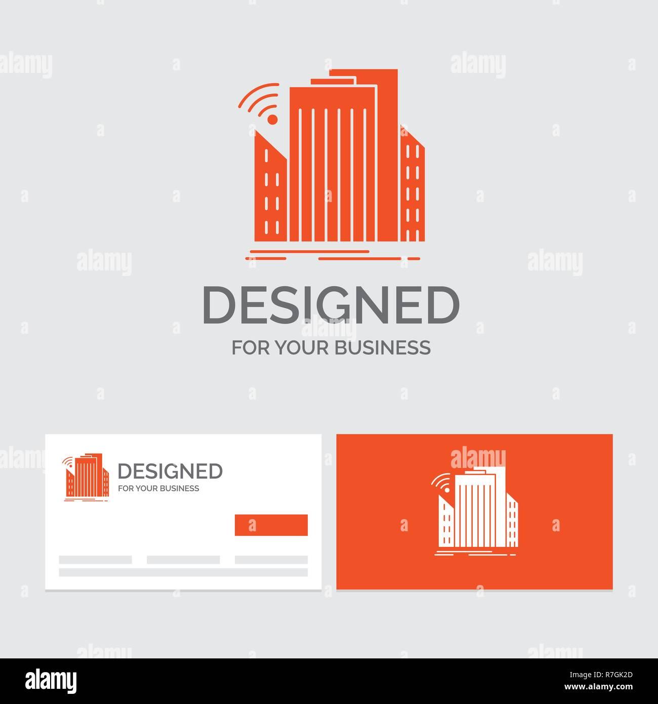 Modele De Logo Dentreprise Pour Les Batiments Ville Capteur Smart Urbain Cartes Visite Orange Avec Marque