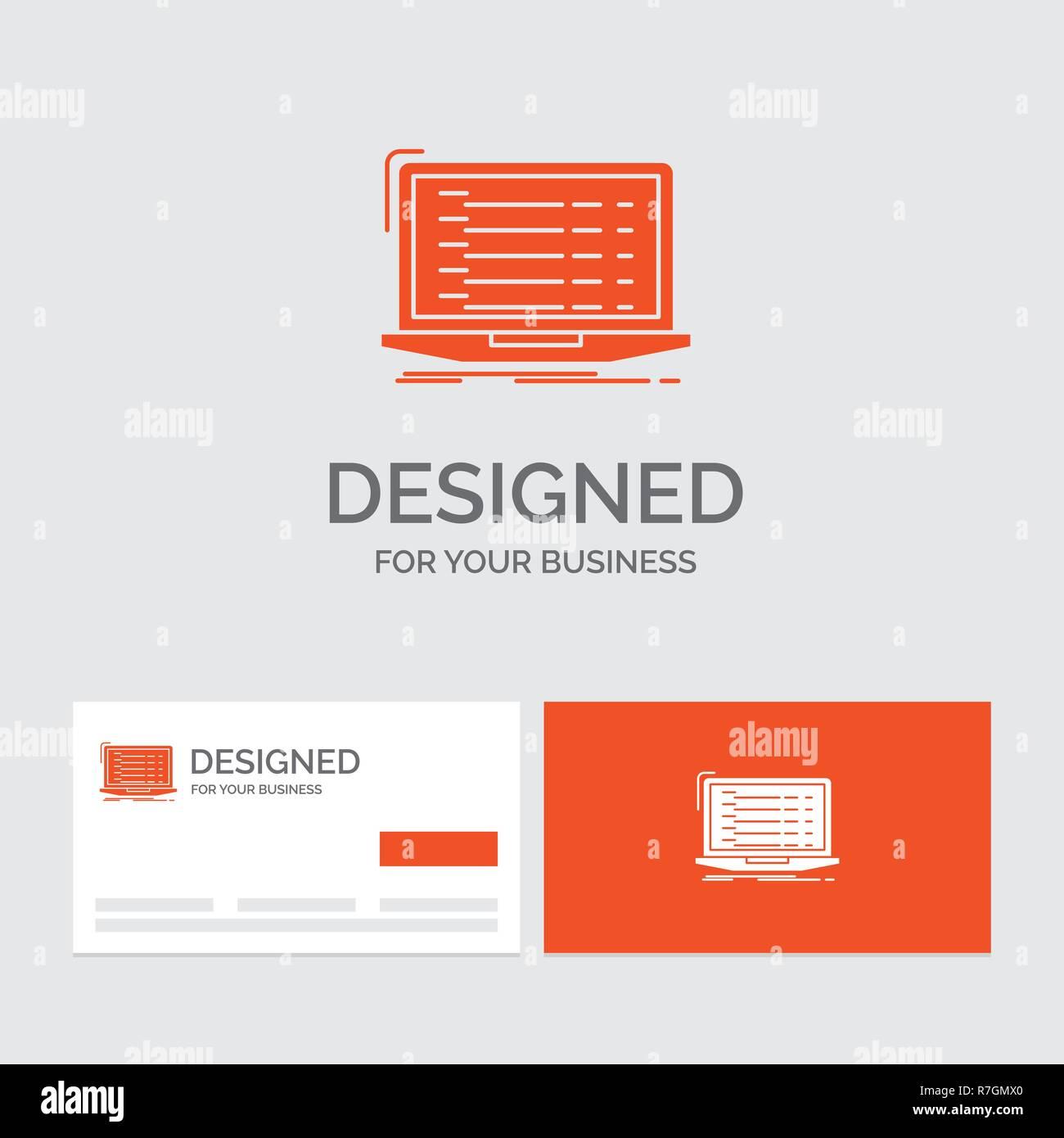 Logo Dentreprise Modele Pour Api Application Codage Developpeur Ordinateur Portable Cartes De Visite Orange Avec Marque