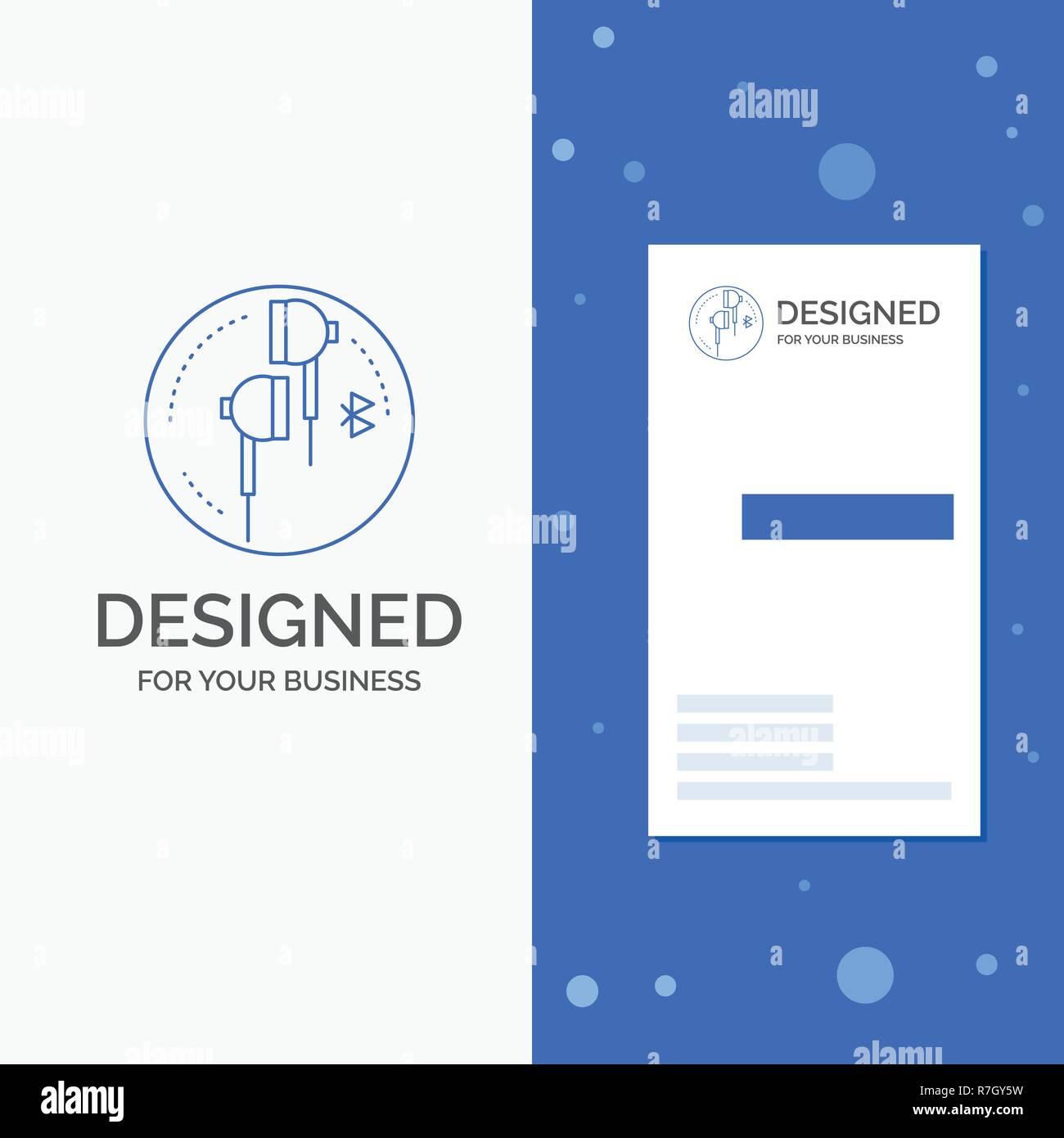 Logo Dentreprise Pour La Sortie Casque Loreille Telephone Bluetooth Musique Bleu Vertical Affaires Modele De Carte Visite