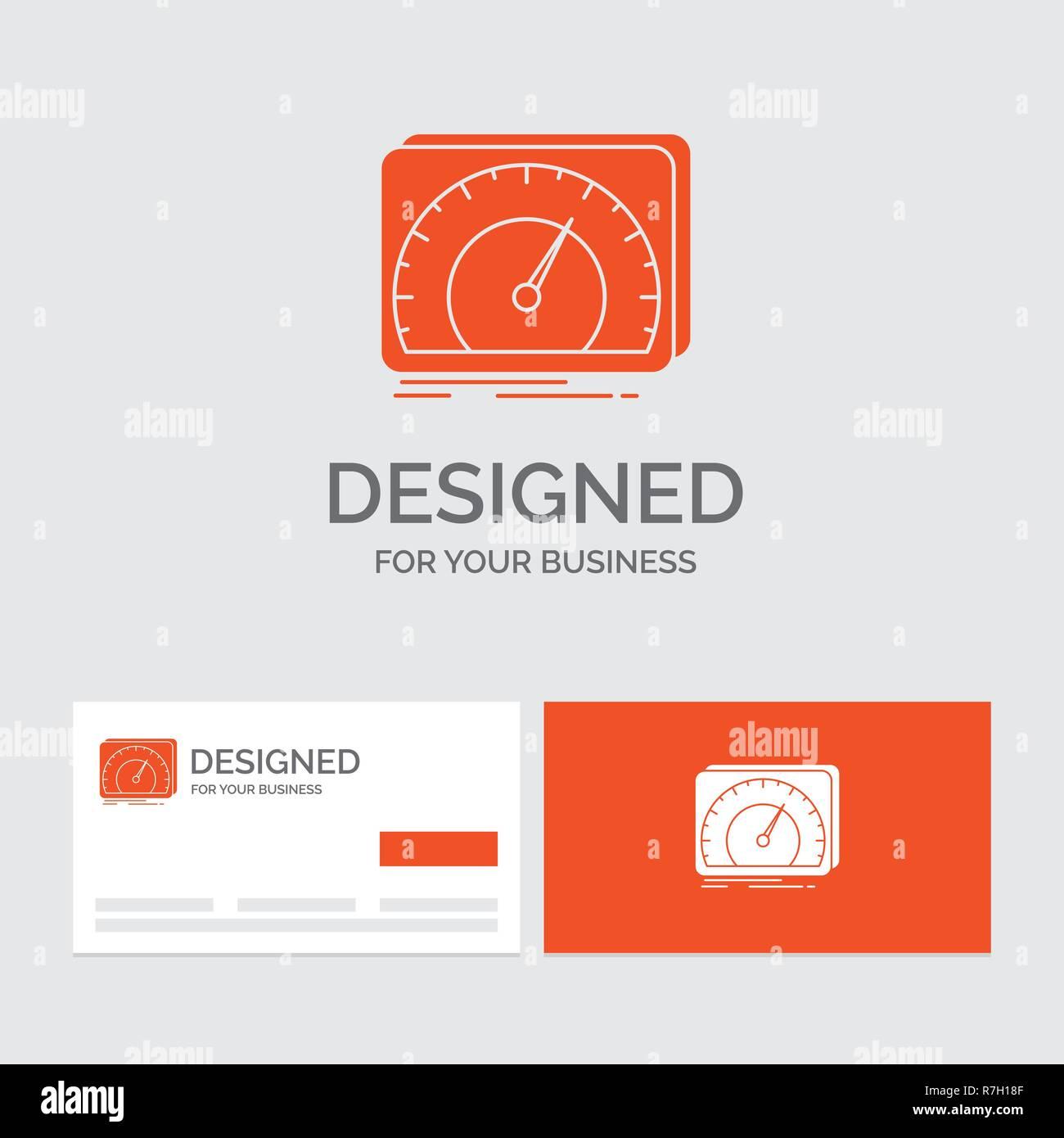 Logo Dentreprise Modele Pour Planche De Bord Lappareil Vitesse Test Internet Cartes Visite Orange Avec Marque