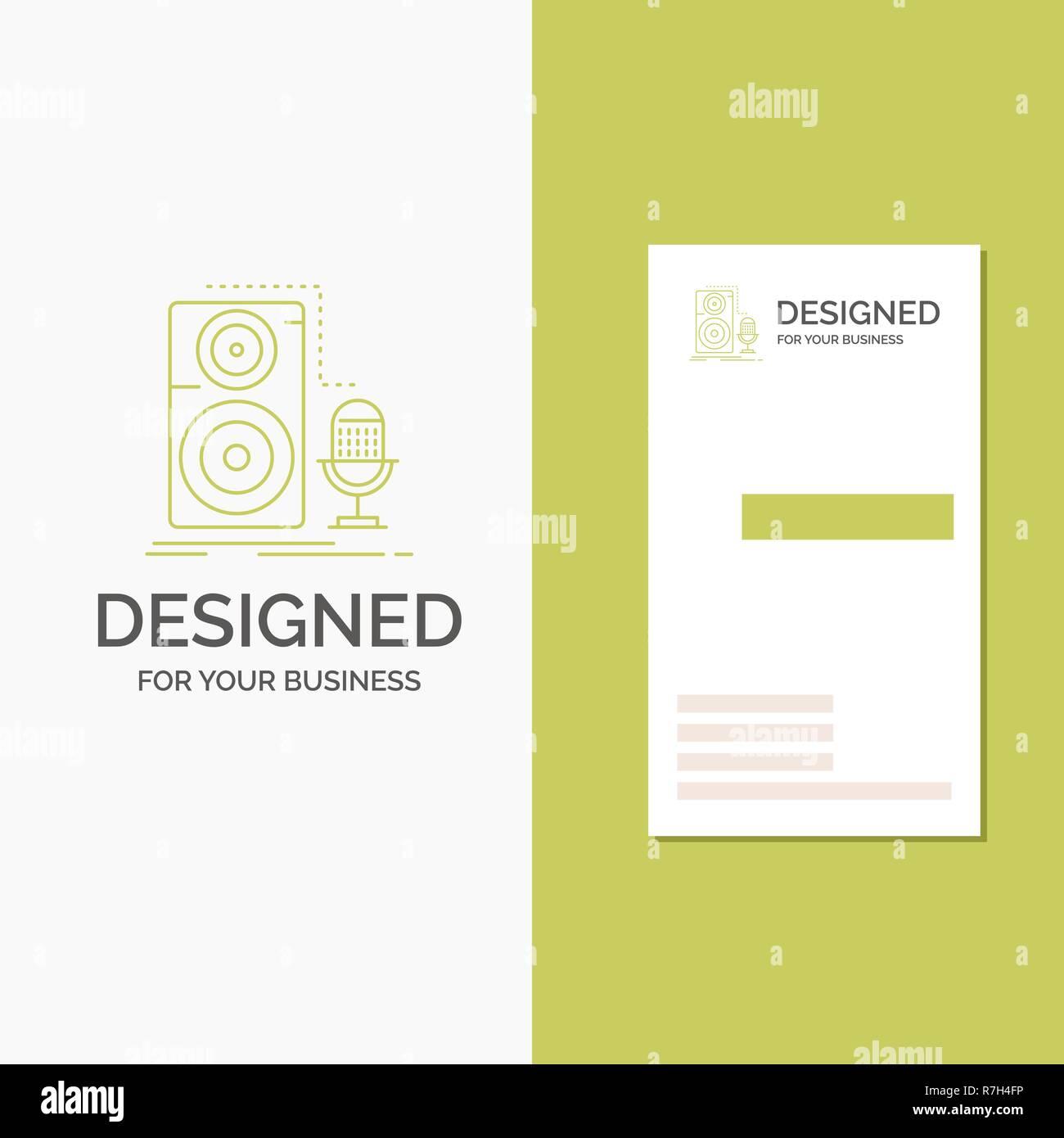 Logo Dentreprise Pour Vivre Micro Microphone Enregistrement Son L Entreprise Verte Verticale Modele De Carte Visite Arriere Plan Creatif Vector