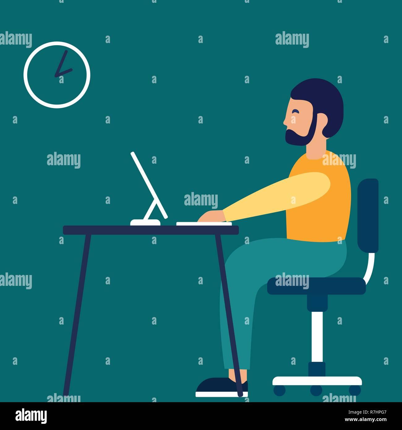Un homme est assis sur le lieu de travail au bureau. Vector illustration dans un style plat Illustration de Vecteur