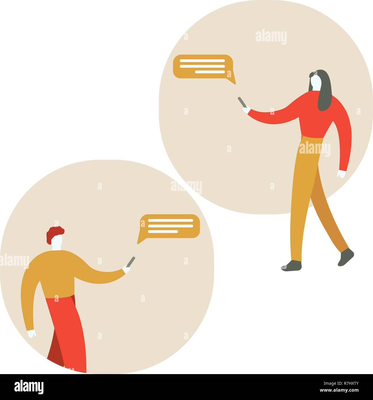 Vector cartoon illustation de l homme et de la femme de se servir de leur ee2526d310cc