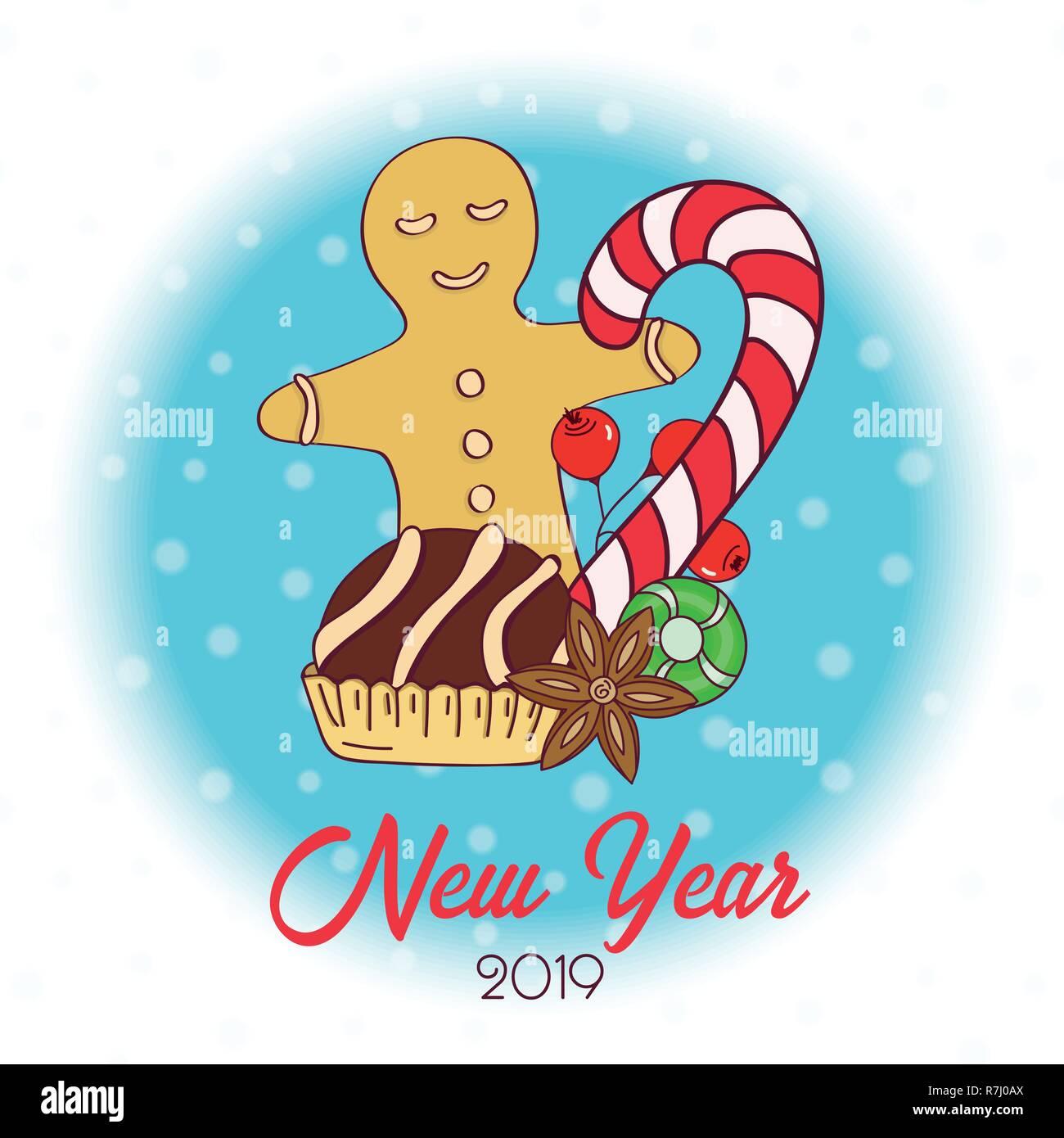 Joyeux Noel Et Nouvel An.Carte De Noel Dessine A La Main Joyeux Noel Et Nouvel An A
