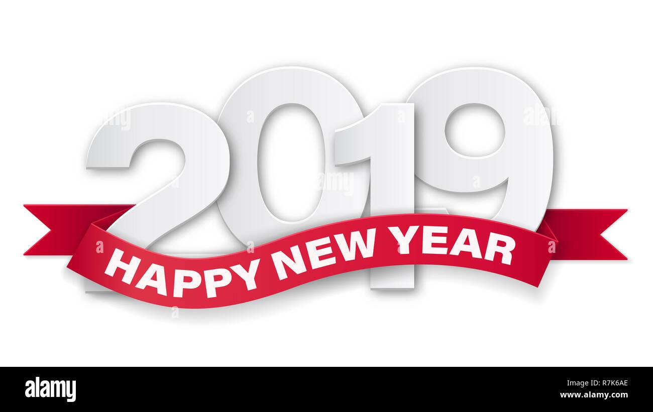 Bonne Année 2019 Les Numéros Papier Avec Texte Sur Ruban