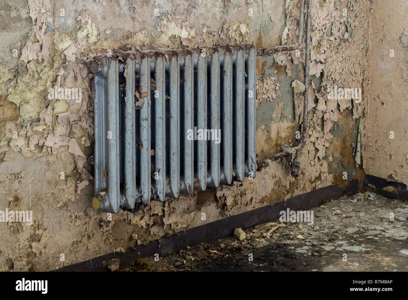 Après les dégâts causés par l'eau de chauffage vétustes Photo Stock
