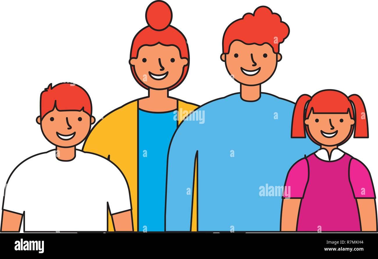 Mère Père Fils et Fille famille Illustration de Vecteur