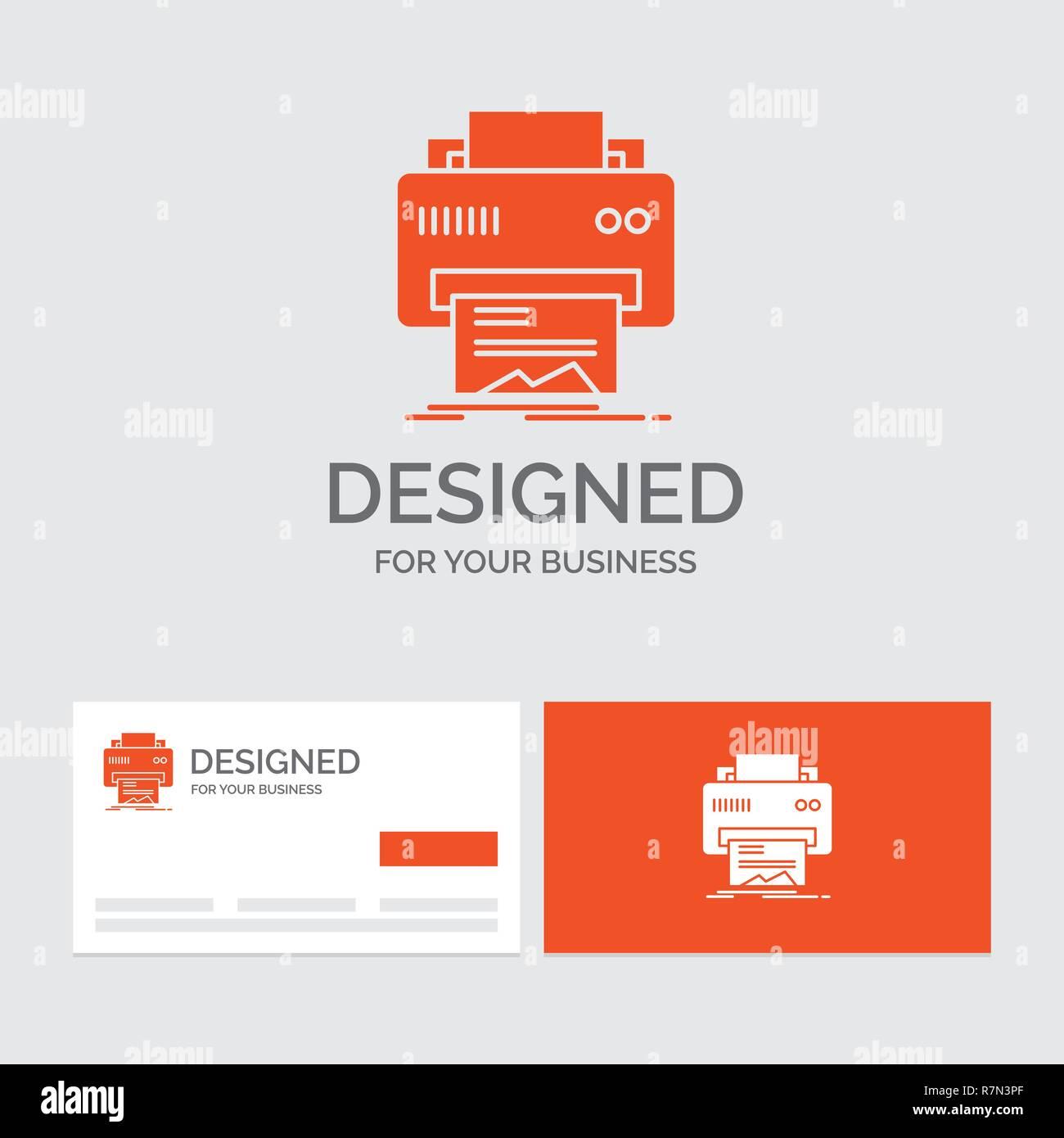 Modele De Logo Dentreprise Pour Le Numerique Imprimante Impression Materiel Papier Cartes Visite Orange Avec Marque