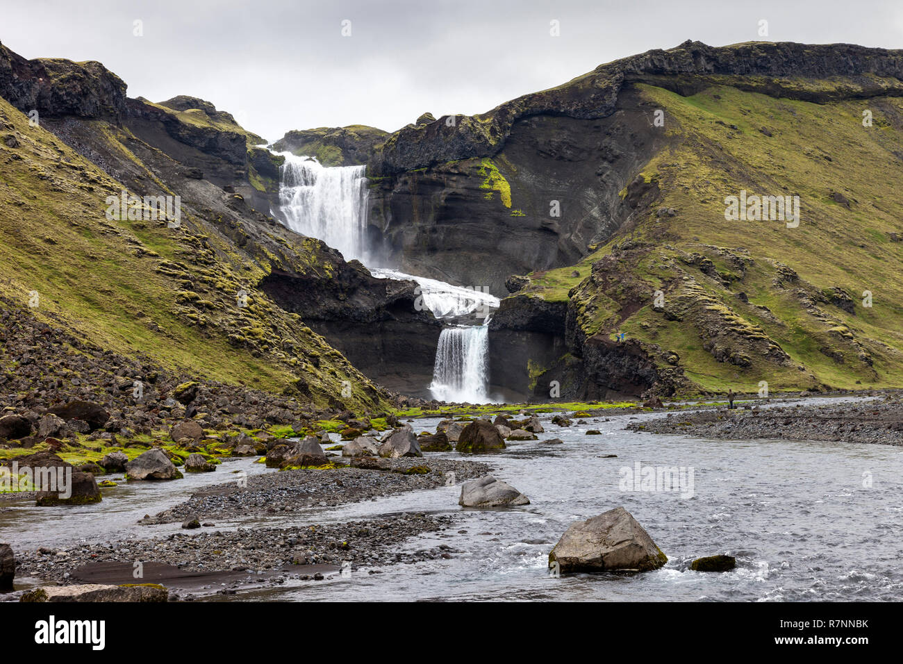 La Cascade Ófaerufoss Eldgjá, Canyon, Islande Photo Stock