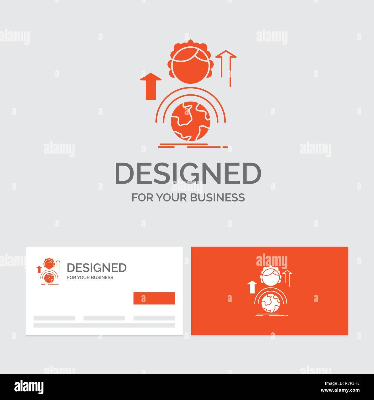 842fce62ab91a Modèle de logo d'entreprise pour les capacités, développement, femme,  mondial, en ligne. Cartes de visite orange avec logo marque modèle.