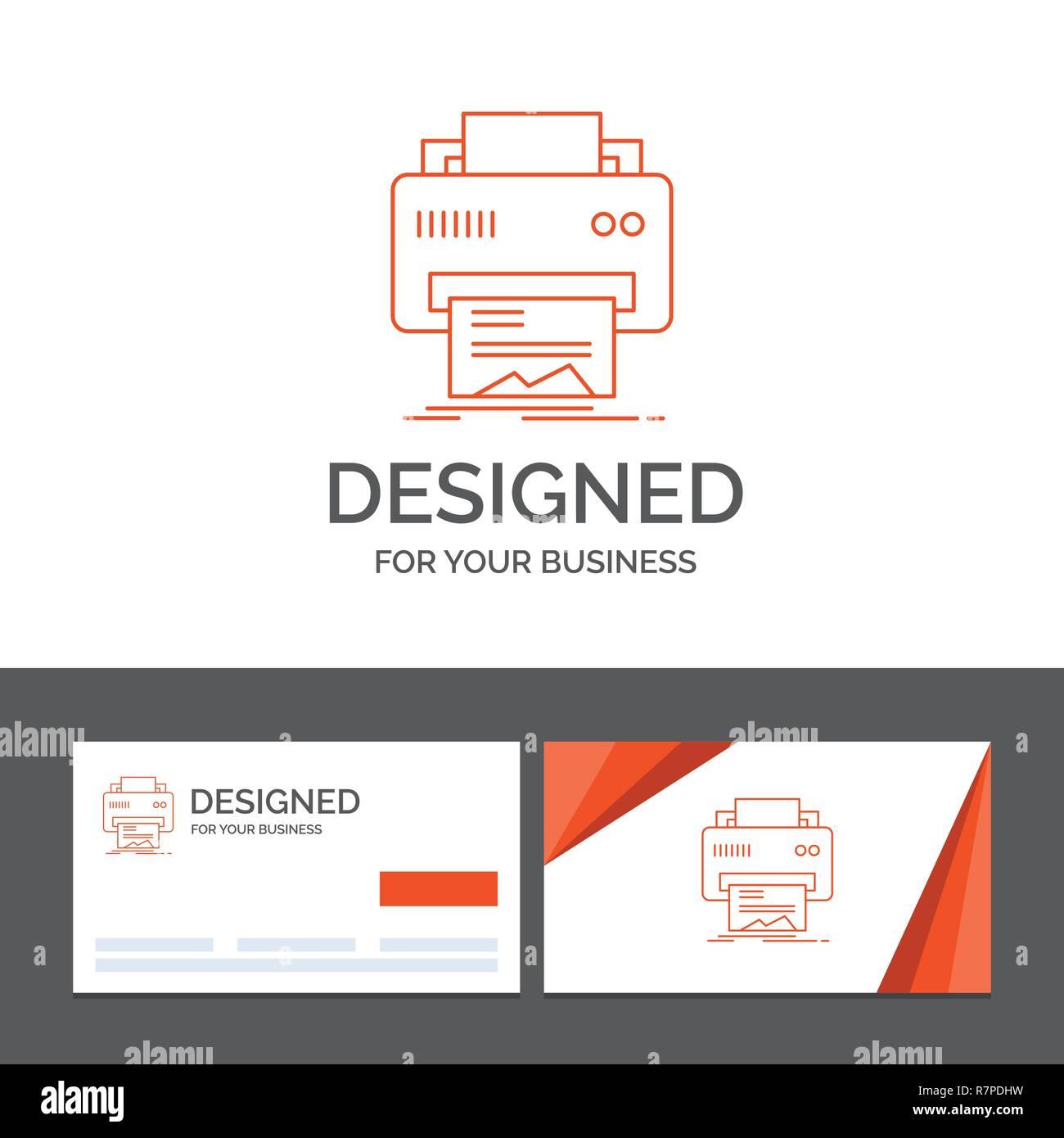 Modele De Logo Dentreprise Pour Le Numerique Imprimante Impression Materiel Papier Cartes Visite Orange Avec Marque Template