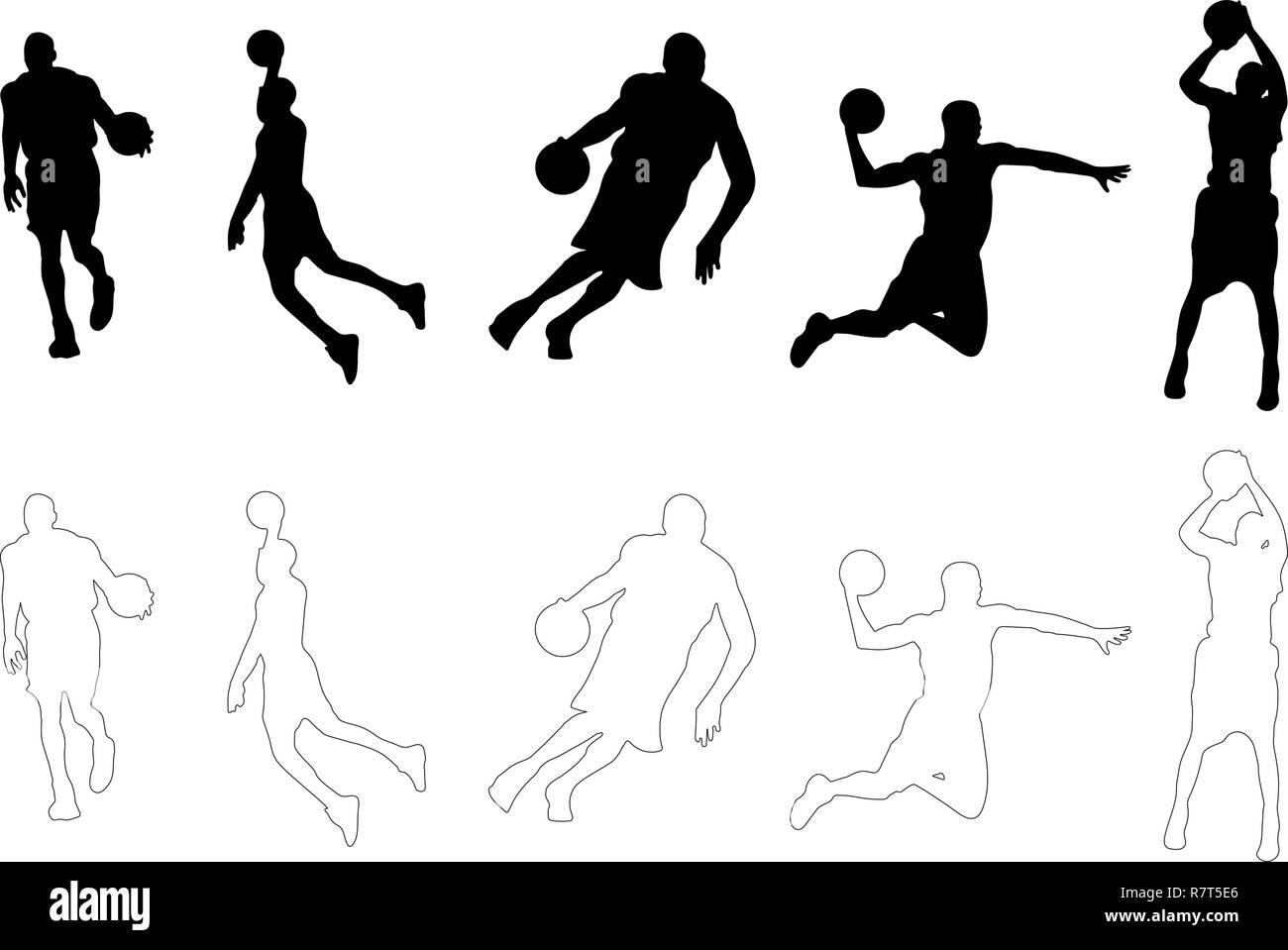 Silhouettes vecteur Contour joueur de basket-ball Photo Stock