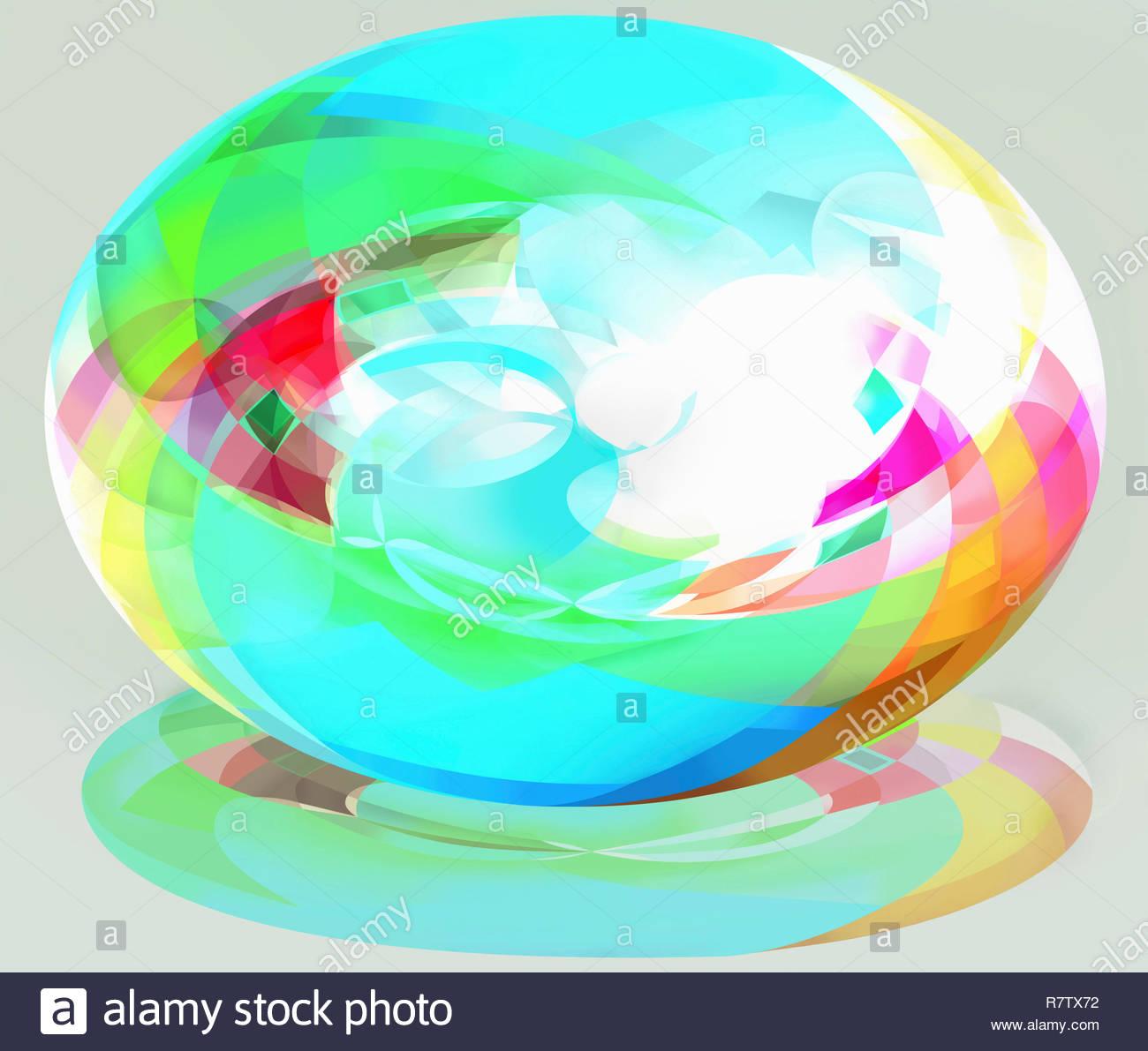 Ellipse en trois dimensions multicolores lumineux Photo Stock