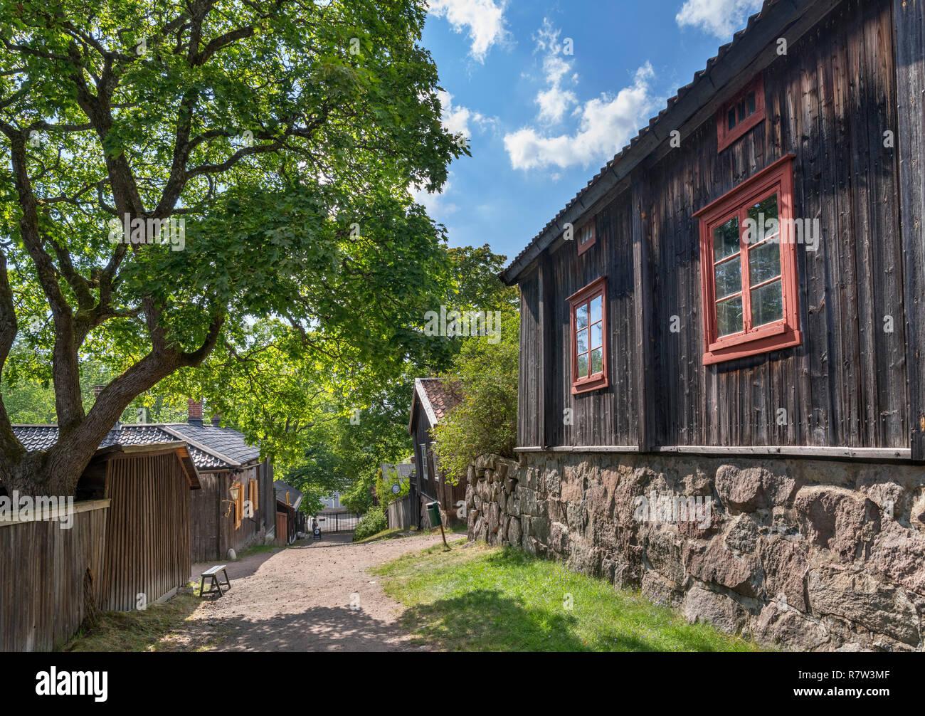 Musée d'artisanat Luostarinmäki, une zone de bâtiments en bois vieux de 200 ans qui a survécu à l'incendie de 1827, Turku, Finlande Photo Stock