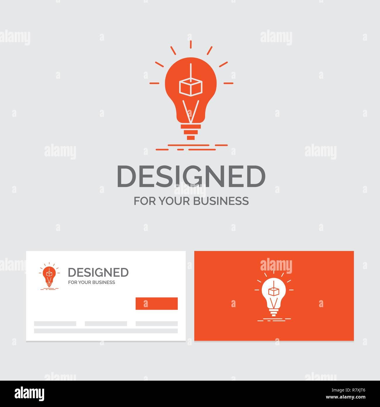 Logo Daffaires Modele De Cube 3d Idee Lampe Limpression Fort Cartes Visite Orange Avec Marque