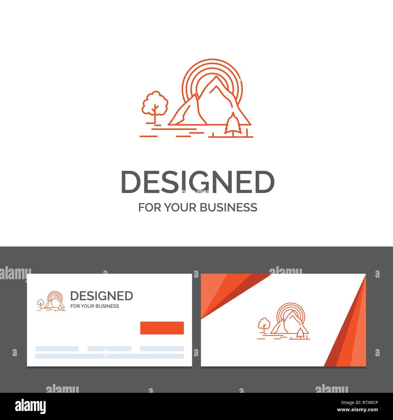 Modele De Logo Dentreprise Pour La Montagne Colline Paysage Nature Arc En Ciel Cartes Visite Orange Avec Marque Template
