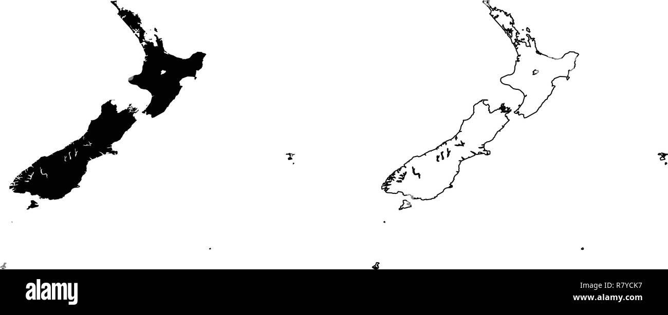 Carte Nouvelle Zelande Dessin.Simple Seulement Les Coins Pointus Carte De La Nouvelle