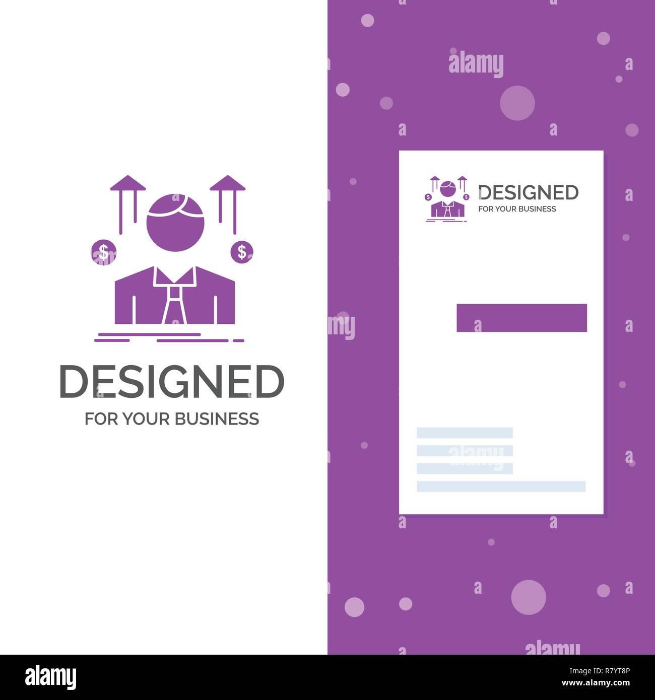 Logo Dentreprise Pour Les Entreprises Lhomme Avatar Employe Dhomme Lentreprise Violet Verticale Modele De Carte Visite Vecteur Fond