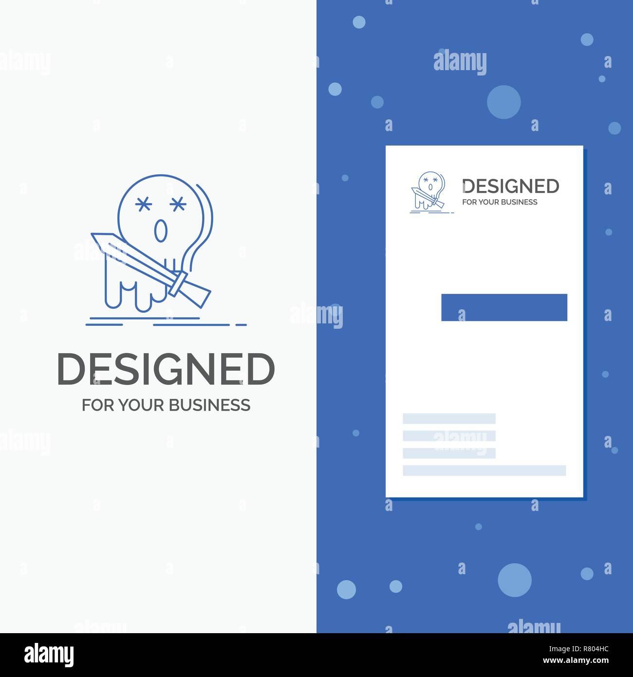 Logo Dentreprise En Cas De Deces Frag Jeu Tuer Epee Bleu Vertical Affaires Modele Carte Visite