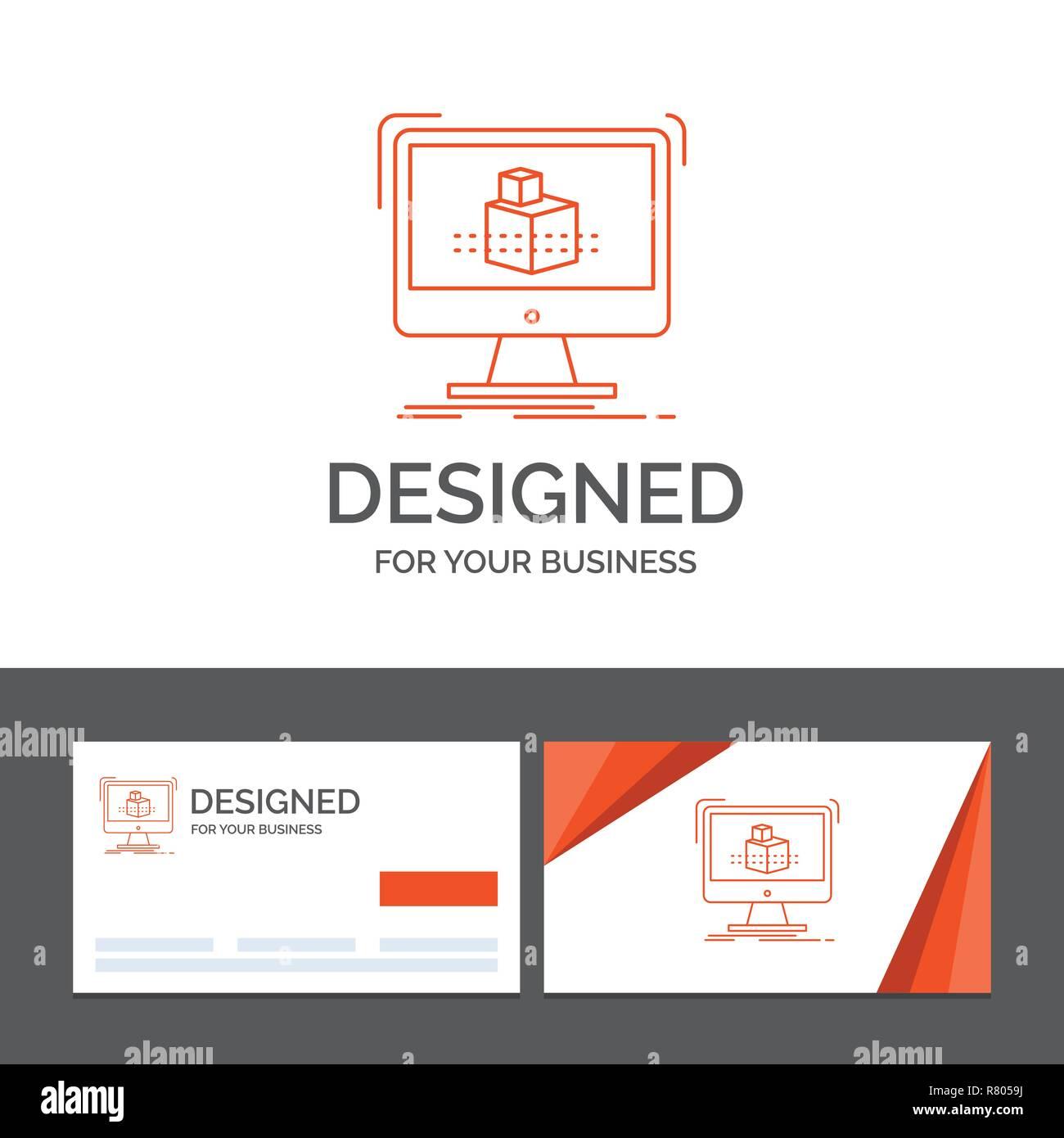 Logo Dentreprise Modele Pour 3d Cube Dimensions La Modelisation Lesquisse Cartes De Visite Orange Avec Marque Template