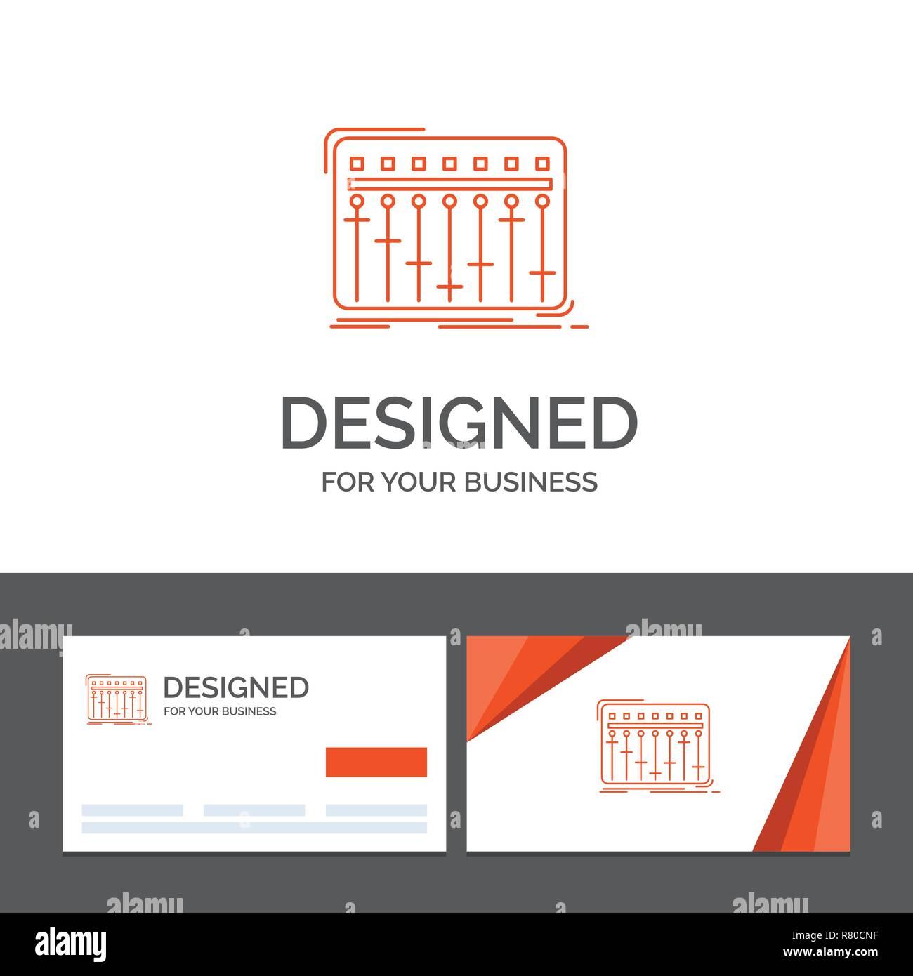 Modele De Logo Dentreprise Pour La Console Mixage Dj Musique Studio Cartes Visite Orange Avec Marque Template