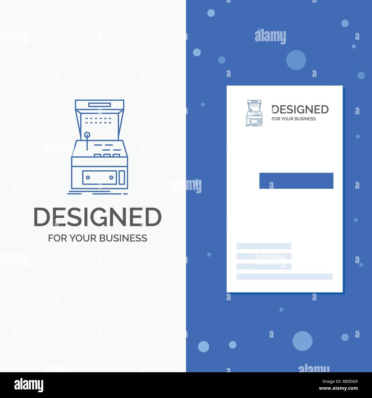 Logo Dentreprise Pour LArcade Console Jeu Machine Jouer Bleu Vertical Affaires Modele De Carte Visite