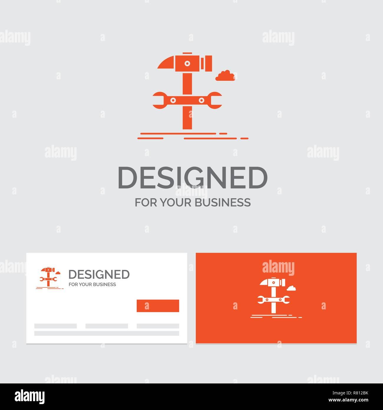 Logo Dentreprise Modele Pour Construire Lingenierie Marteau Reparation Service Cartes De Visite Orange Avec Marque