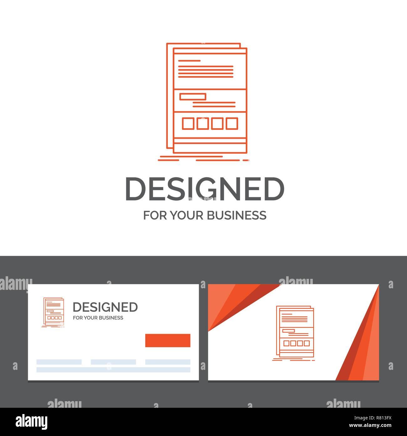 Logo Dentreprise Modele Pour Browser Dynamique Internet Page Reactif Cartes De Visite Orange Avec Marque Template