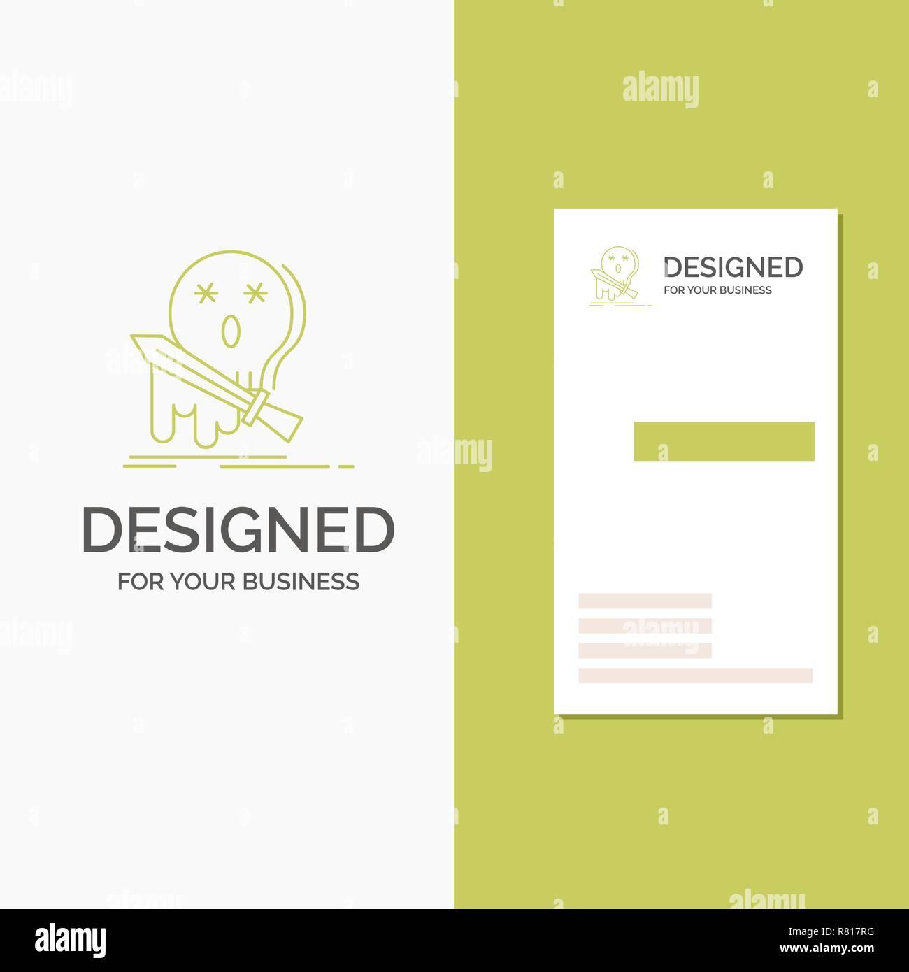 Logo Dentreprise En Cas De Deces Frag Jeu Tuer Epee Lentreprise Verte Verticale Modele Carte Visite Arriere Plan Creatif Vector