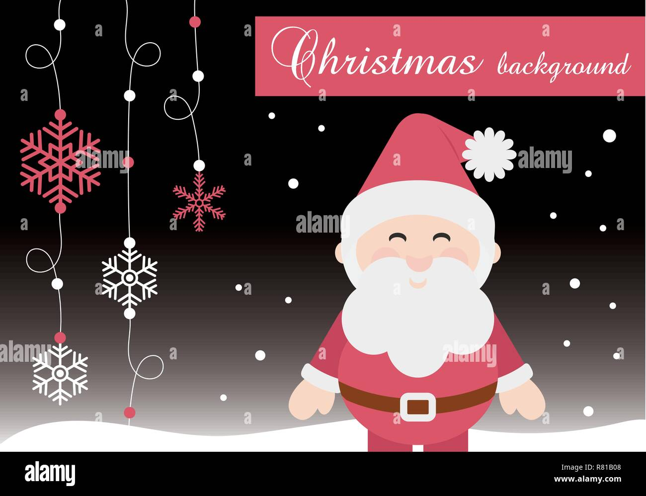 Joyeux Noël Père Noël Cute Vector Illustration Version Banner mur affiche Carte de souhaits fond bleu avec de la neige Photo Stock