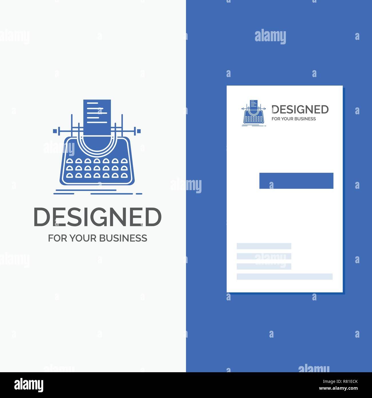 Logo Dentreprise Pour Larticle Blog Histoire Machine A Ecrire Ecrivain Bleu Vertical Affaires Modele De Carte Visite