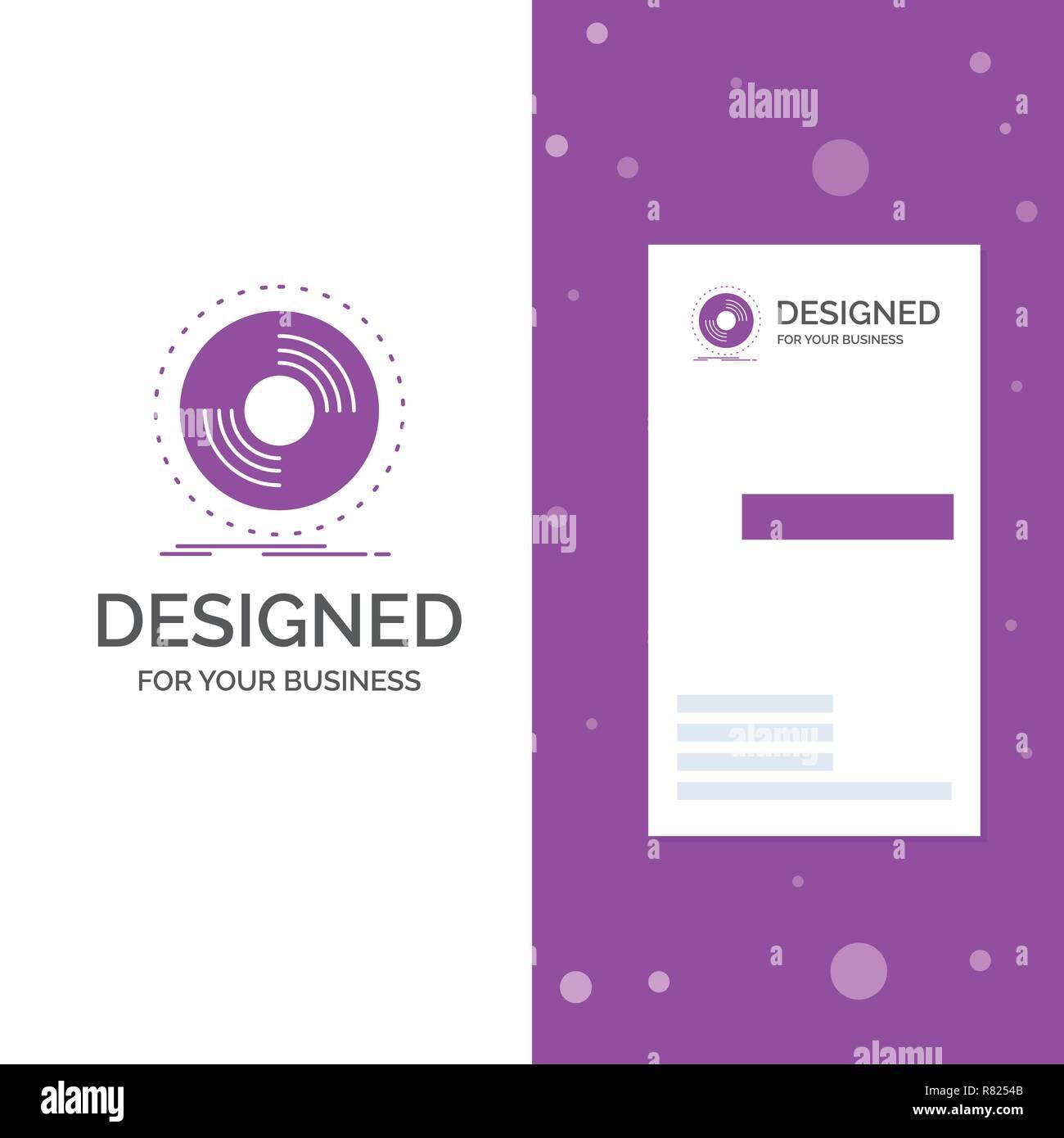 Logo Dentreprise Dj Disque De Phonographe Notice Vinyle Lentreprise Violet Verticale Modele Carte Visite Arriere Plan Creatif Vector