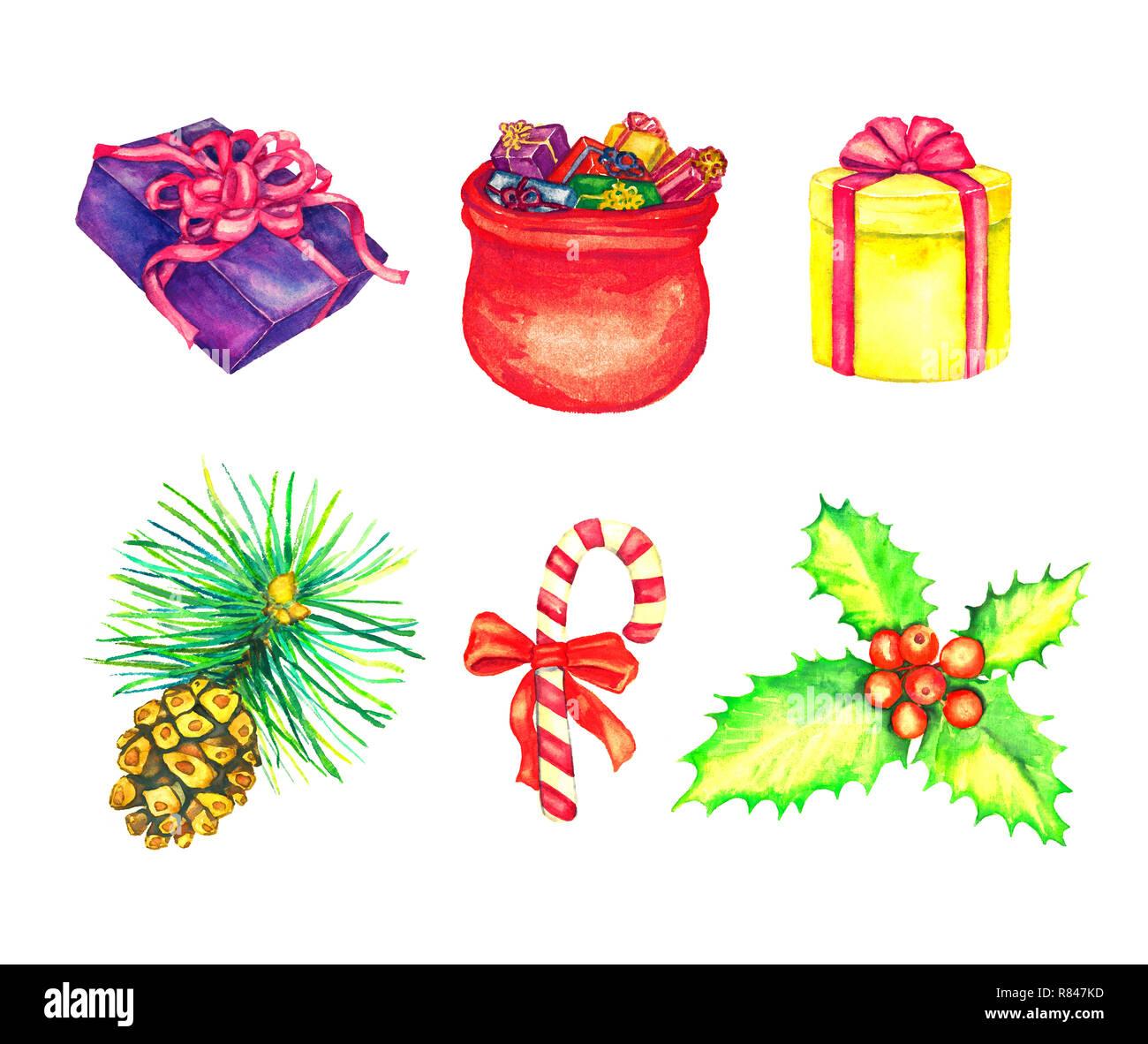 Bouquet De Noel Avec Du Houx boîte cadeau et père noël sac plein de cadeaux, bouquet de