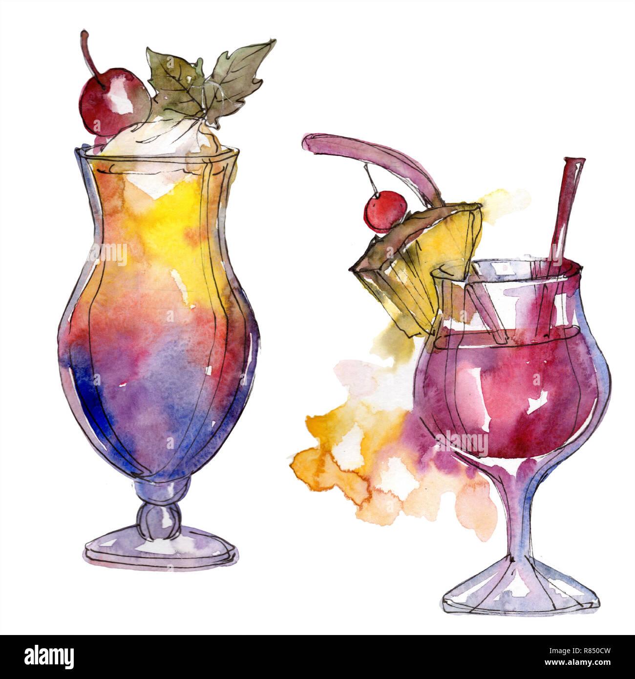 Verre cocktail background illustration aquarelle set aquarelle dessin aquarelle mode isol - Dessin cocktail ...