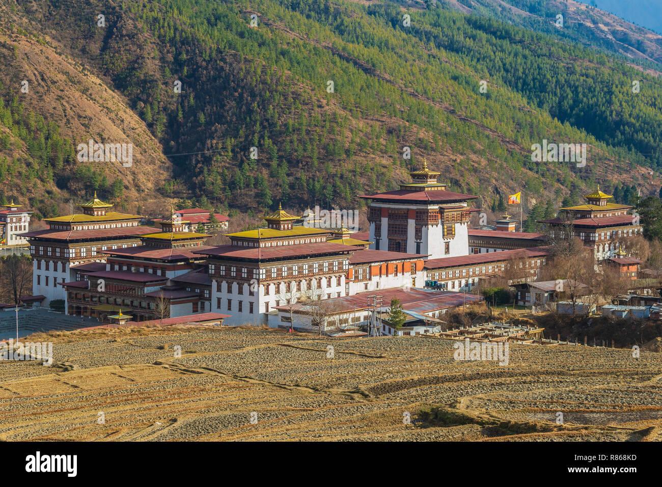 Trashi Chhoe Dzong de paysage, à Thimphu, Bhoutan capitale Photo Stock