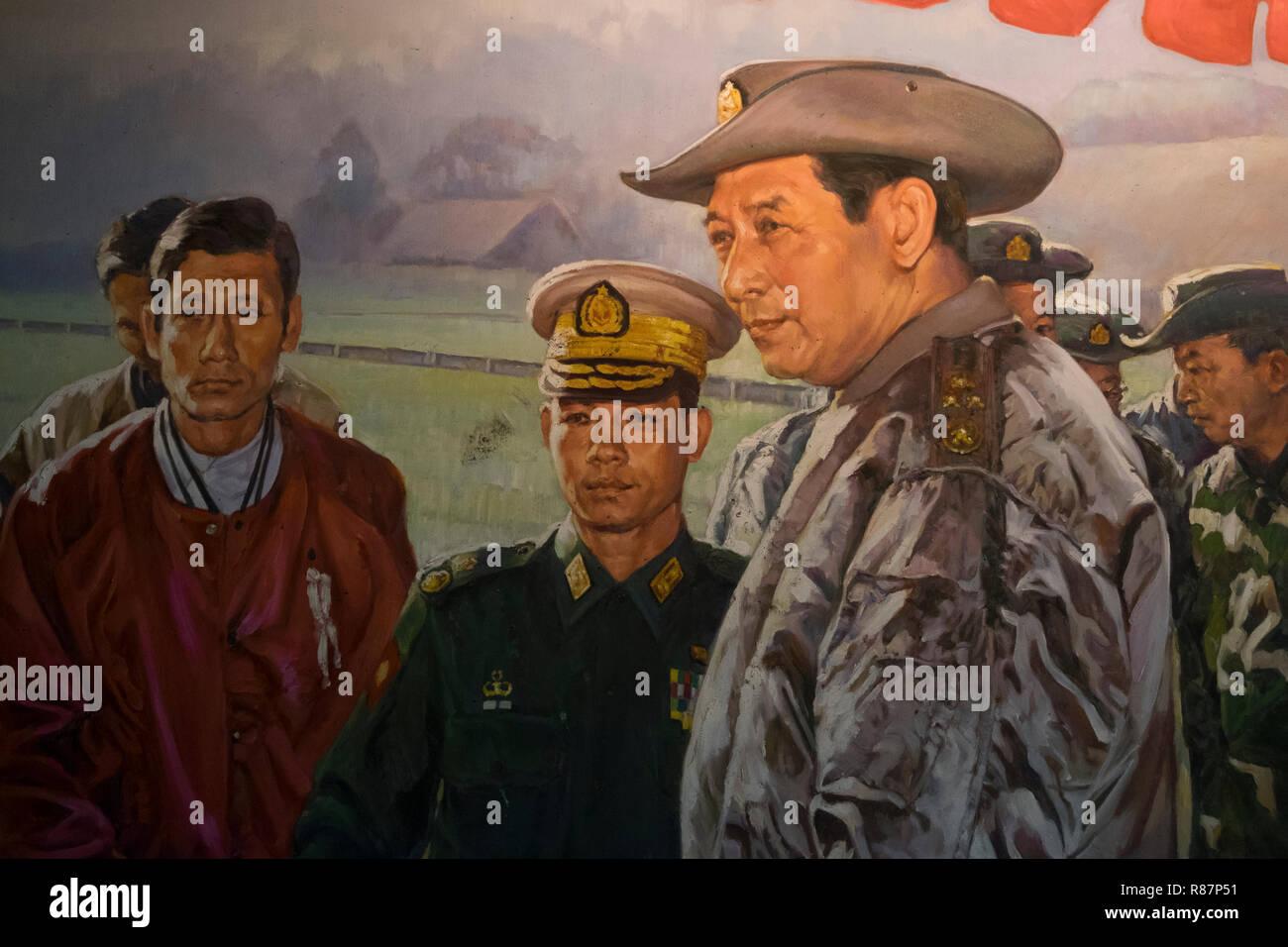 Peinture militaire au Musée de l'élimination des drogues dans la région de Yangon, Myanmar. Banque D'Images