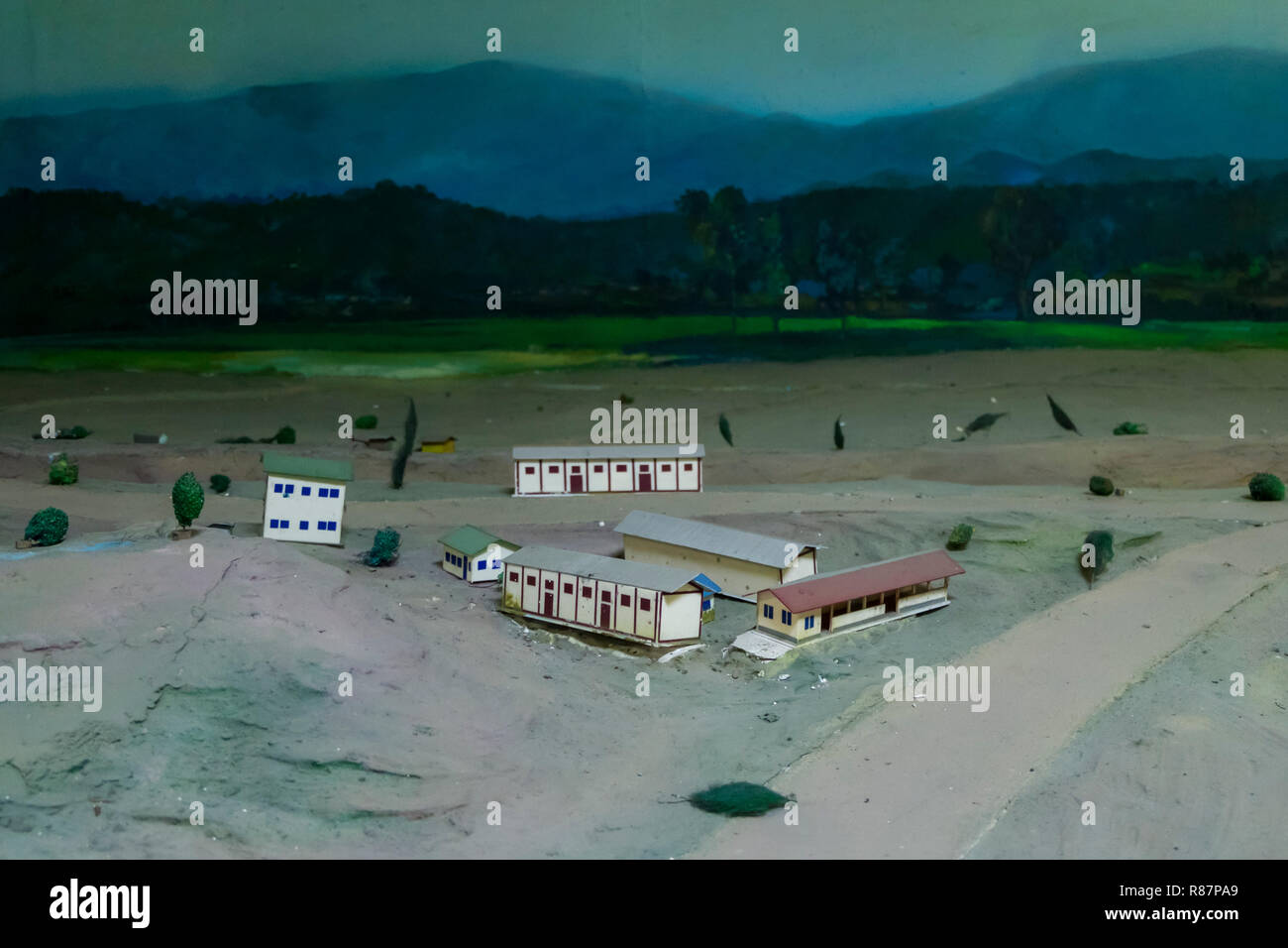 Camp militaire diorama au Musée d'élimination des drogues dans la région de Yangon, Myanmar. Banque D'Images