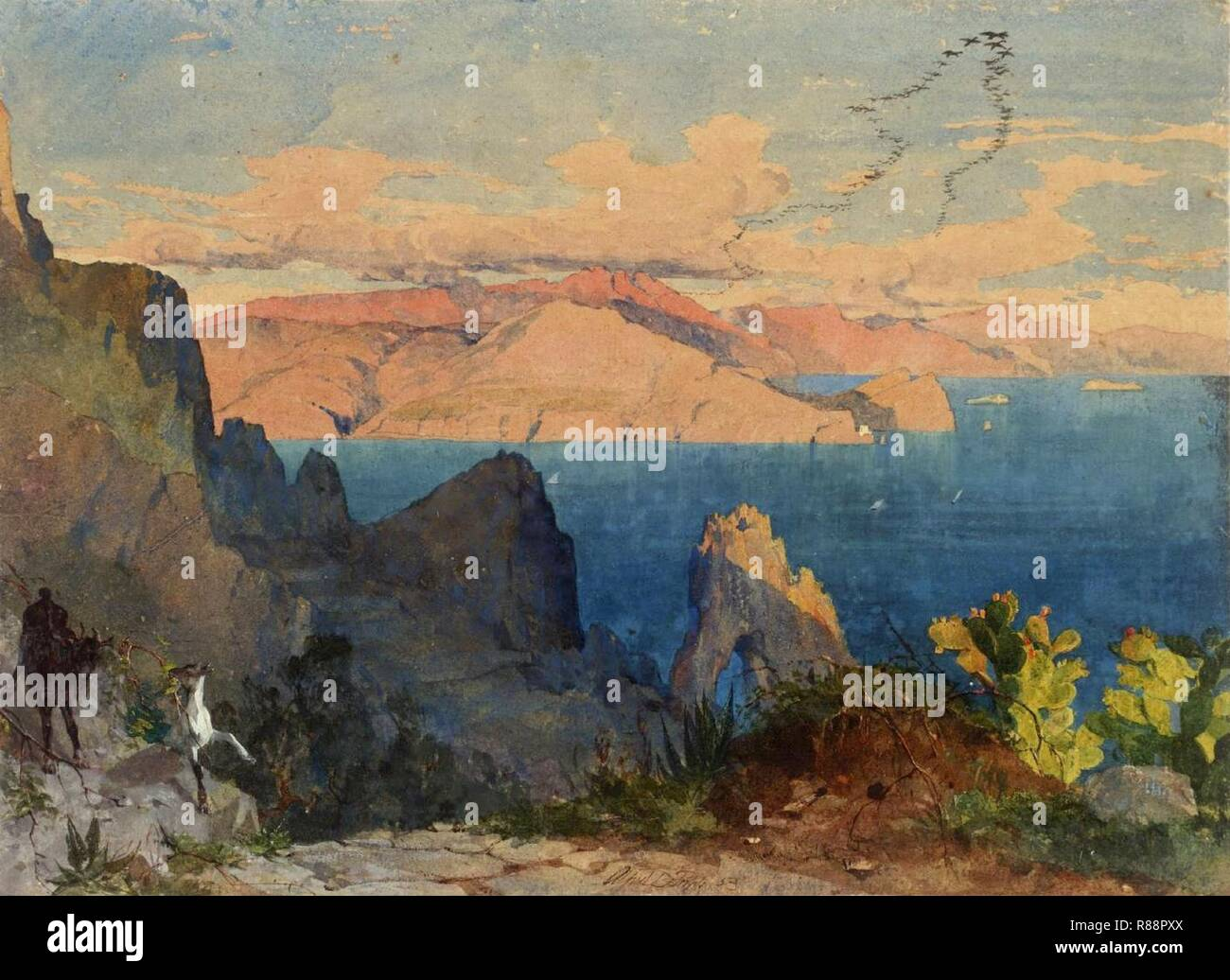 Capri 1853 par Alfred Downing Fripp. Photo Stock