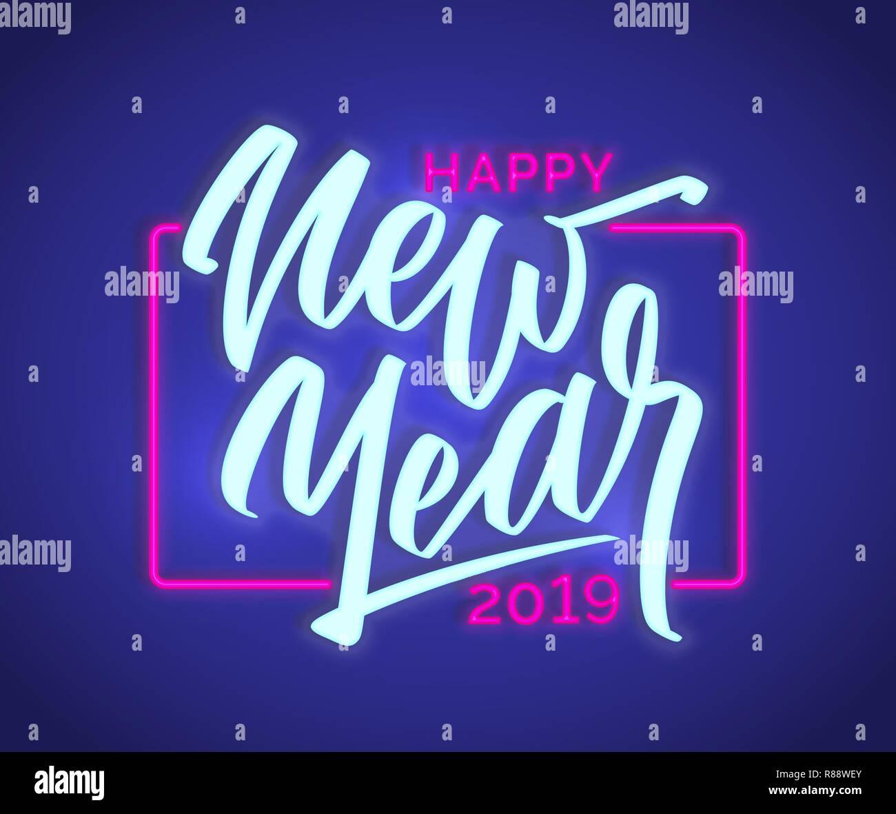 Bonne Année Texte Neon Sign 2019 Nouvelle Année Modèle De