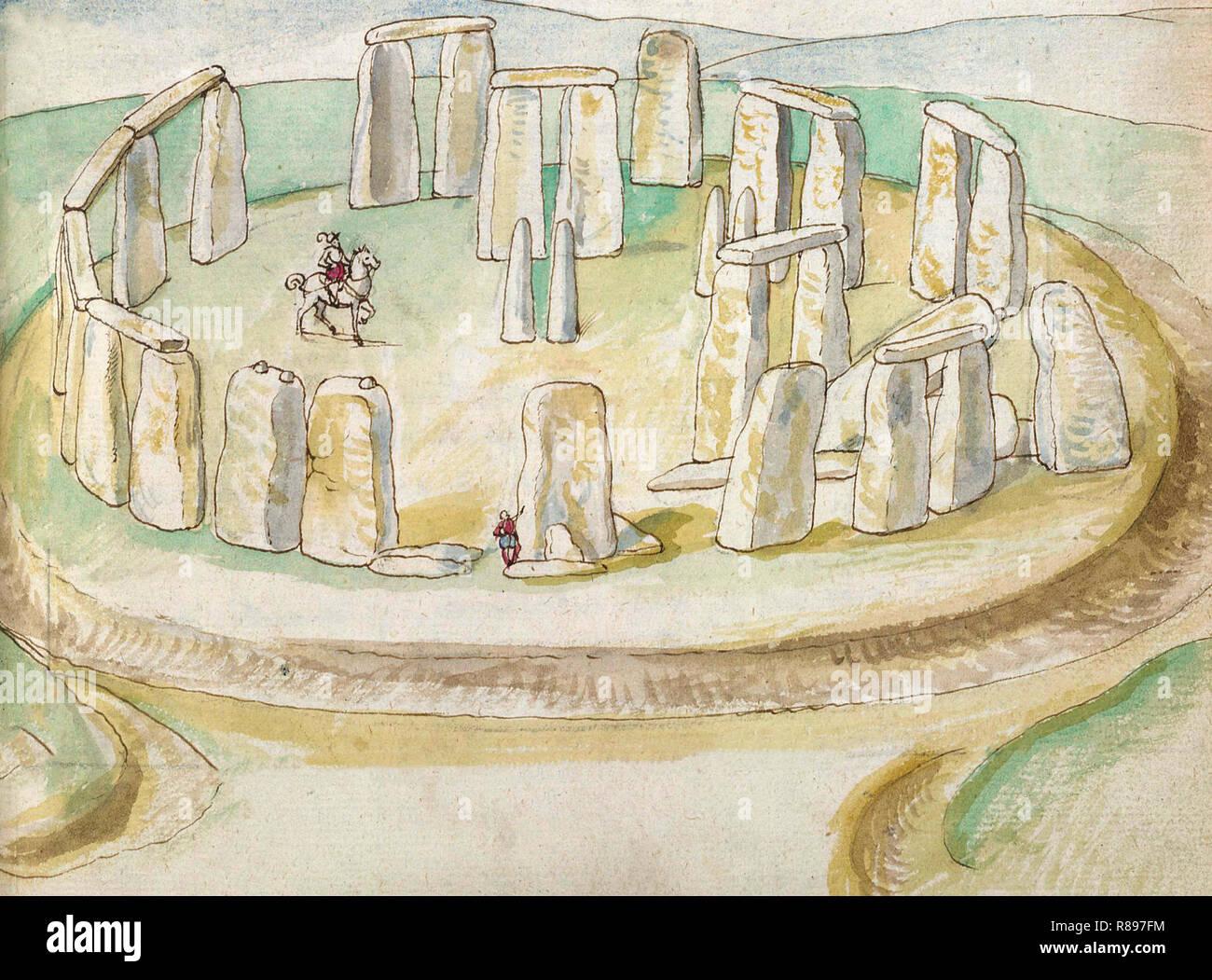 Première peinture réaliste de Stonehenge, peint à l'aquarelle par Lucas de Heere, vers 1575 Photo Stock