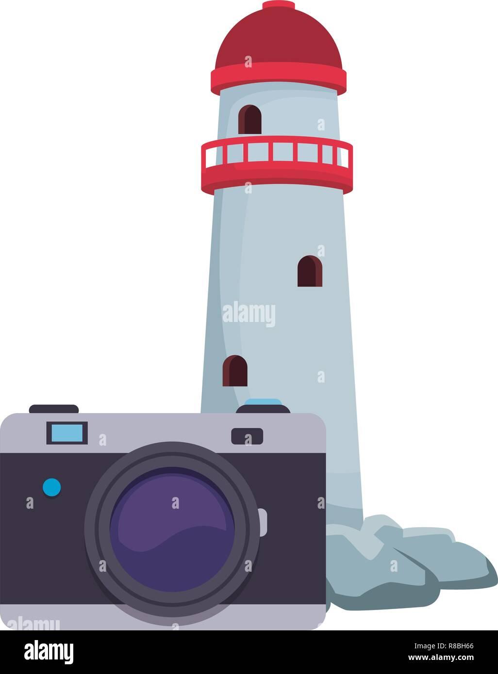 Phare et l'appareil photo Illustration de Vecteur
